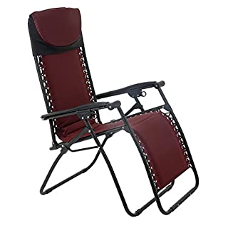 Azuma Zero Gravity Padded Garden Reclining Relaxer Lounge Lounger Chair In Dark Red