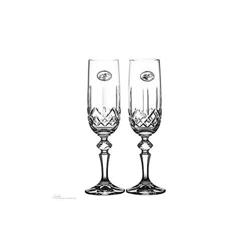2er Set Sektglas Sektkelch Champagnerglas Sektflöte Hochzeit Transparent mit Silberplakette Handgeschliffen Kristallglas