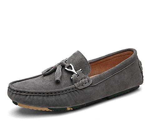 Männer Schuhe Echtes Leder Komfort Büro & Karriere Loafers Mokassin Leichtes Fahr Größe 38 To 43 , gray , EU40 -