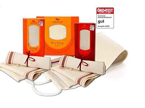 Carenesse Peeling-Set Groß, 1 Peelinggurt für den Rücken + 1 Peelinghandschuh Classic für den Körper + 1 Sensitive für das Gesicht mit Ökotest Gut, Rückenpeeling, Körperpeeling, Gesichtspeeling