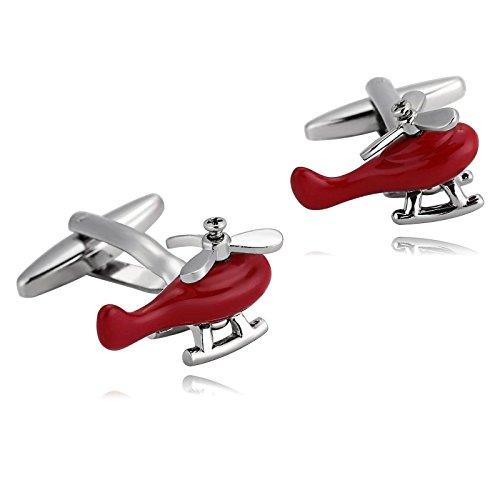 Adisaer Manschettenknöpfe Männer Edelstahl Silber Rot Manschettenknopfe Flugzeug Hubschrauber Hemd Manschetten Knöpfe Gothic (Anzug Stärkste Iron Man)