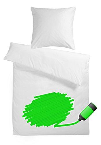 Carpe Sonno Mako-Satin Kinderbettwäsche zum Bemalen 100 x 135 cm weiß aus 100% Baumwolle für besten Schlafkomfort – 2-teiliges Kinder-Bettwäsche Set mit Kopfkissen-Bezug 60 x 40 cm und Textilmarkern
