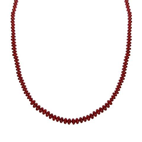 ZLYC Women's Handmade Dyed Red Coral Stone Long Chain Single-Strand Beaded Necklace