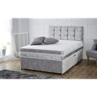 Sleep Factory Ltd 4ft6 Silver Crushed Velvet 2 Drawer Divan Bed With Memory Foam Sprung Mattress And Matching Headboard - Available in 3ft, 4ft, 4ft6, 5ft, 6ft