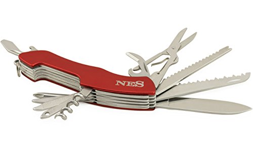 VITAPUR en Acier Inoxydable Couteau de Poche NES 11 en 1 avec scie, Ciseaux et 9 Autres Fonctions – sans Risques 30 Jours période d'essai et 30 Conseils pour Couteau de Poche Quotidienne Applications