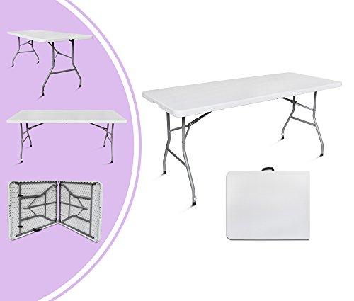 Leogreen - Mesa Plegable Portátil, Mesa de Campamento, 180 x 76 cm, Blanco, Plegable por la mitad, Material: HDPE, Tamaño plegado: 90 x 76 x 8,5 cm
