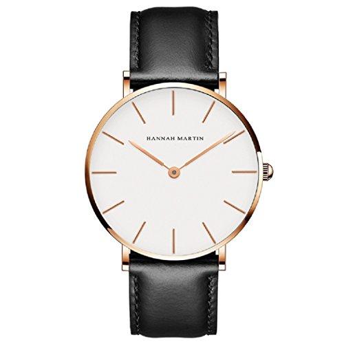 Uomo orologi, l'ananas stile minimalista impermeabile anolog attività commerciale quarzo pelle sintetica coppie lovers orologi da polso con confezione regalo wristwatches (nero+gold)