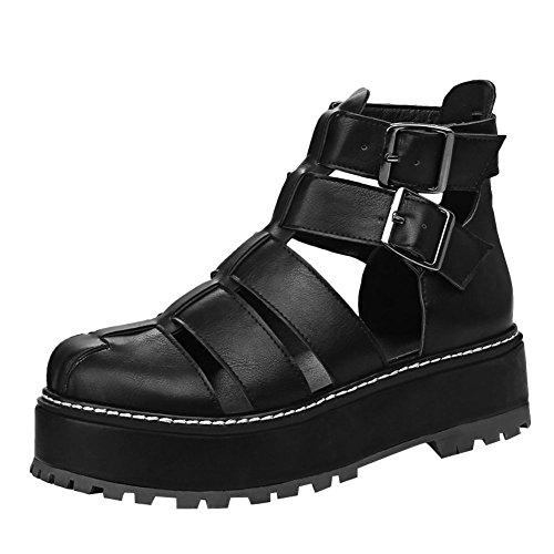 Mee Shoes Damen runde Knöchelriemcehn Platform Plateau Sandalen Schwarz
