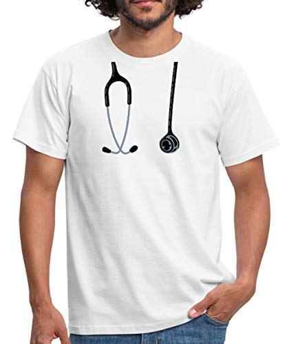 Arzt Patienten Kostüm - Spreadshirt Arzt Kostüm Männer T-Shirt, L, Weiß