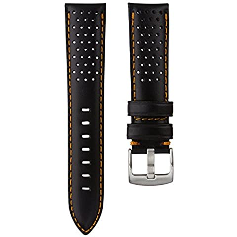 Genuine Italian Leather Black Perforated Watch Strap with Orange Stitching 22mm