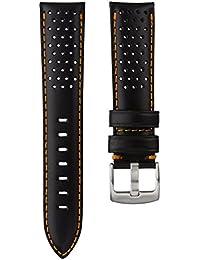 Bracelet de Montre Geckota® en Cuir Véritable Italien, Sport et Perforé, Qualité et Confort, Noir et Orange, 22mm
