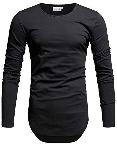 Crone Yuma Herren Langarm Shirt Longsleeve Slim Fit T-Shirt Leicht Oversize Basic Sweatshirt in vielen Farben (XXL, Schwarz) Black Jack Lederjacke