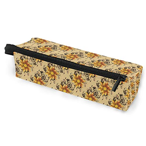 Texture Golden Flowers Pattern Eyeglasses Case Soft Box Zipper Sunglasses Holder Pen Bag Protective Pouch Pencil Cosmetic Bags Storage