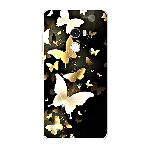Aksuo Funda For Xiaomi Mi Mix 2 , TPU Anti-Rasguño Anti-Golpes Cover Protectora Transparente Claro Caso Slim Silicona Case - Mariposa Dorada Brillante
