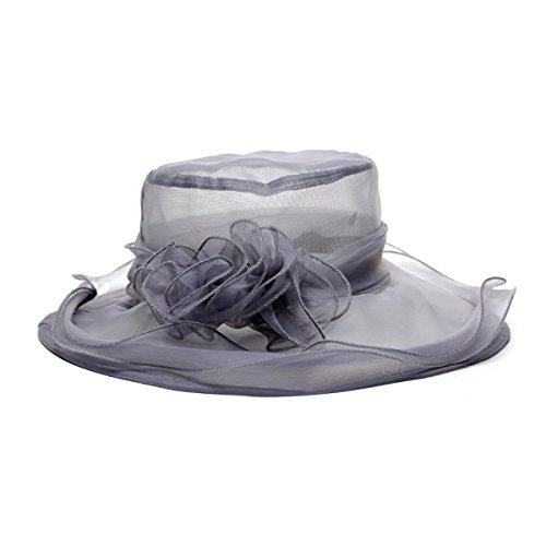 Sombrero TININNA para mujer con ala ancha y flores de organza estilo. 8bf2a65d18d