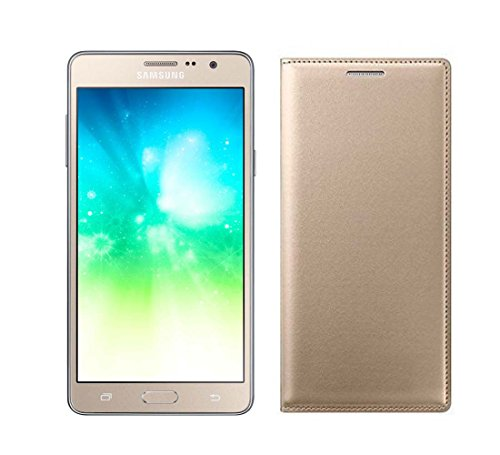 Johra Premium Leather Flip Case Cover For Samsung Galaxy On5 Pro Flip Cover - Gold Glolden