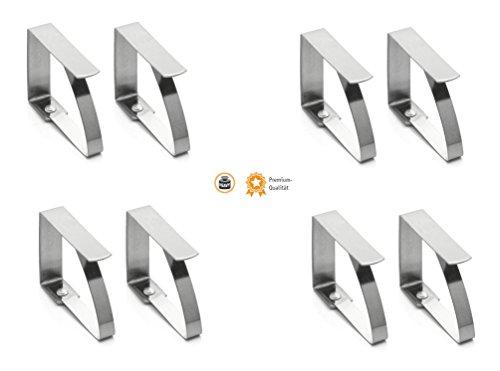 Kerafactum® Tischdeckenklammer Tischtuchklammer aus Edelstahl zum Klammer Befestigen der Tischdecke - 8 Stück