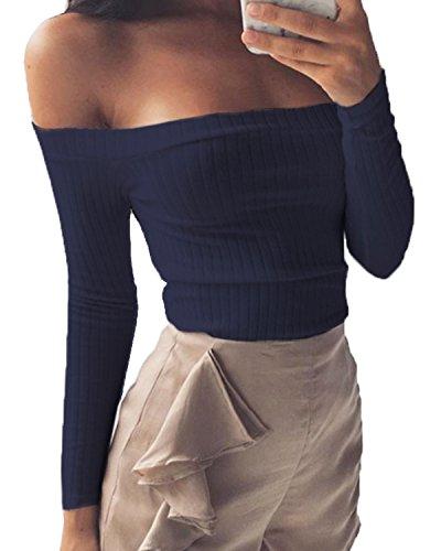 Minetom Sweatshirt Damen Frau Schlank Tops Schulterfrei Sweater Knitting Strapless T-Shirt Marine