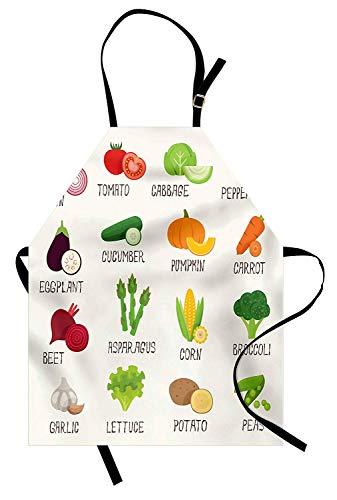 (Retro-Schürze, Gemüse-Muster im Retrostil Kürbis-Tomaten-Kohl-Pfeffer-Geschmack Gourmet, Unisexküchen-Latzschürze mit justierbarem Ansatz für das Kochen backende Gartenarbeit, weißes grünes Rot)