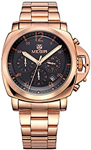 Megir Watch For Men, Stainless Steel Band, Chronograph, M-3006-26, Analog Display