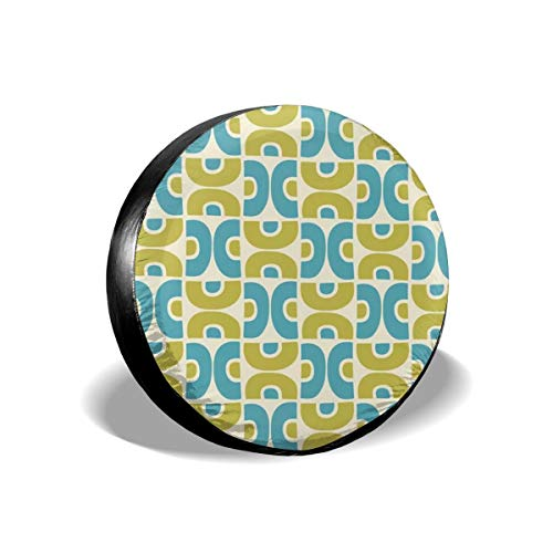 Groovy Cord (Tire Cover Groovy Mid Century Modern Pattern Chartreuse Blue Art Print Polyester Universal Spare Wheel Tire Cover Wheel Covers Jeep Trailer RV SUV Truck Camper Travel Trailer Accessories 15 inch)