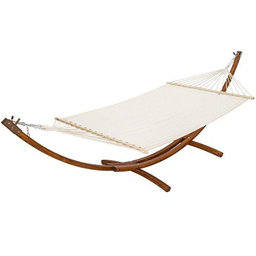 TecTake® 400 CM XXL Hängematte mit Gestell Holz + Dach Gartenliege bis zu 2 Personen Sonnenliege Gartenmöbel -