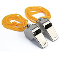 2x Sifflets en Métal Sports Arbitre Police Militaire Camping Chasse Whistle
