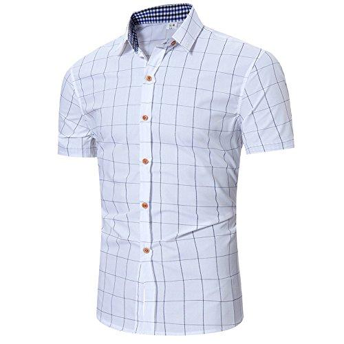 CICIYONER Sommer Herren Hemd Kurzarm Karo-Hemd Figurbetontes Freizeithemd kariert polohemd Tshirts Poloshirts 5 Farben M-2XL