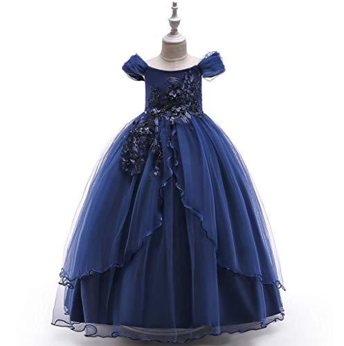 (SMACB Mädchen Flower Prinzessin Kleid Formal Hochzeit Bridesmaid Party Kinderkleid,Blue,170CM)