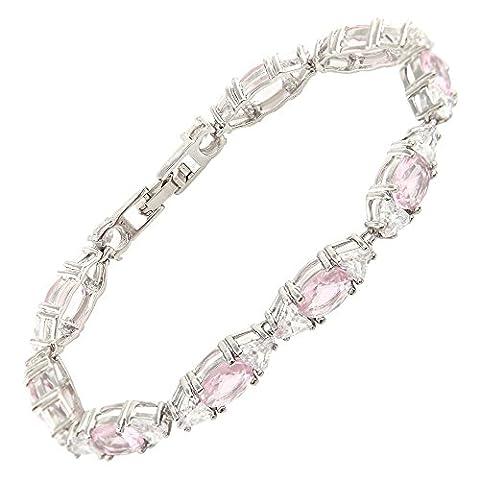 Rizilia Jewellery Oval Cut Pink Sapphire&Clear Birthstone Gemstone Fine 18K