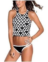 b74d36bc11d Kaamastra Women's High Neck Tankini Swimsuit(KA_LC41343,Black & White ,Freesize)