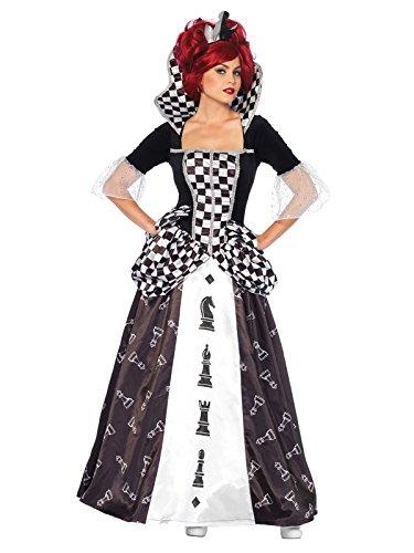 Weiße Kostüm Königin Schach - KULTFAKTOR GmbH Elegante Schach-Königin Damenkostüm Märchen schwarz-Weiss M