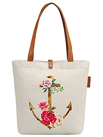 So'each Women's Flower Anchor Graphic Top Handle Canvas Tote Shoulder Bag