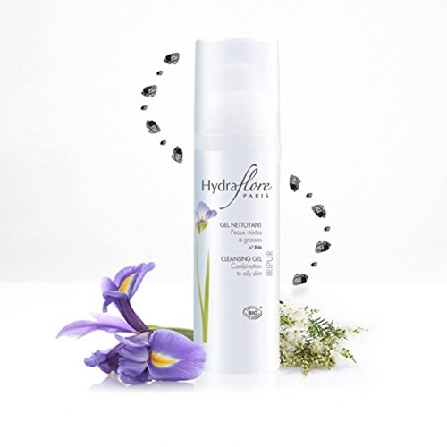 Gel Nettoyant Visage Bio Iripur d'Hydraflore pour peaux mixtes à grasses à l'extrait d'Iris + huile essentielle de tea tree + zinc PCA. Nettoyer les pores et éliminer les impuretés. Pour une peau purifiée, nette et douce.