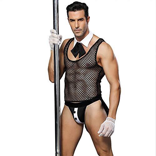 Herren Dessous Dienstmädchen Uniform, Herren Rollenspiel Kostüm Outfit, Sexy Halloween Kostüme für Herren (Männer Dienstmädchen-outfit Für)