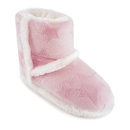 Mädchen Hausschuhe Furry mit Stern Design, Boot Style Grau