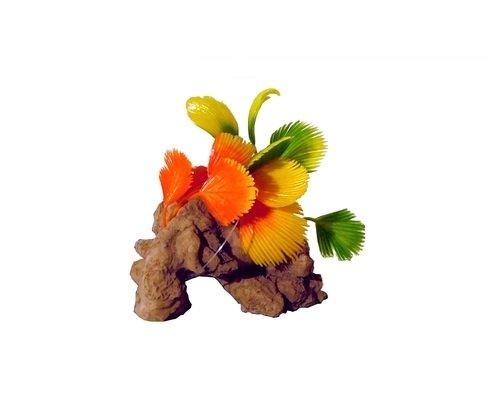 Roccia con pianta artificiale per acquario Fortesan 'F1' - Piantina sintetica, per aggiungere un tocco di realismo al tuo acquario