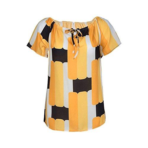ZEELIY-T Shirt Damen Sommer 2019 Frauen Off-Schulter Kurzarm T-Shirt Mädchen Chiffon Druck Bluse Top