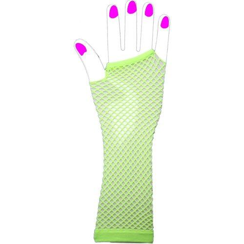 The Pea's Knees Lange fingerlose Netzhandschuhe, (Handschuhe Grün Nylon Lange)