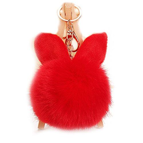 URSFUR 2PCS Faux Pelz Kugel Ball kunstpelz Bommel Schlüsselbund Kaninchen Ohr Tasche Anhänger Schlüsselanhänger - Rot
