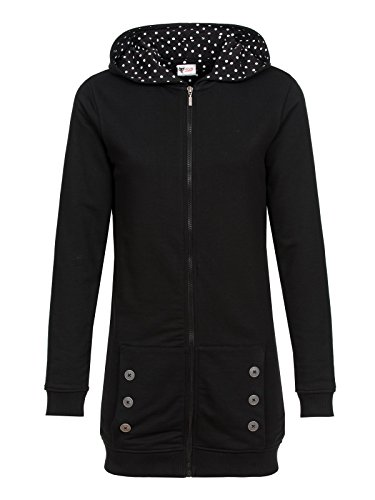 Pussy Deluxe Black Longsweater Coat With White Dotties Lining Felpa jogging donna nero XXL