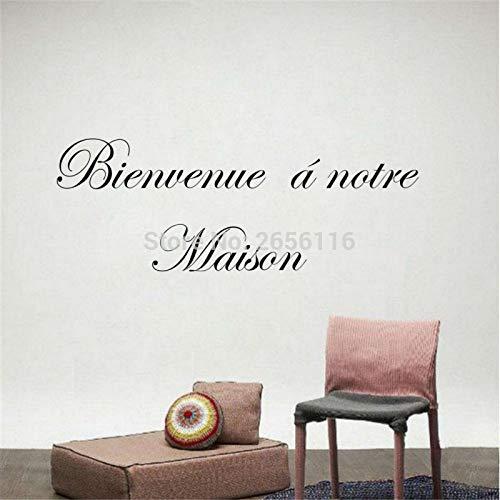 yiyiyaya Französisch Willkommen Zitate Wandtattoos Bienvenue A Notre Maison Vinyl Wandaufkleber für Zuhause 21 * 60 cm