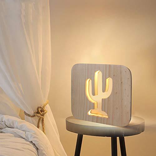 MHXXYD Kaktus Pflanzen Handwerk Atmosphäre Lampe Aus Holz Geschnitzt Hohlen Nachtlicht Usb Led Raum Desktop Dekoration -