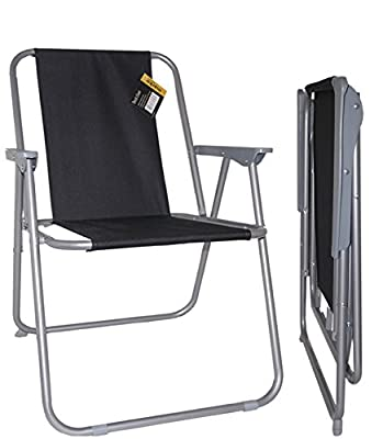 2x Deck Chair Garden Patio Folding Camping Picnic Beach BBQ Party Outdoor Black - inexpensive UK chair shop.