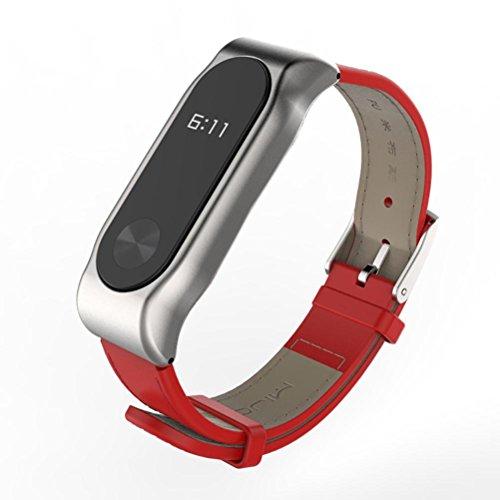 Para correa de repuesto magnética elegante Xiaomi Mi band 2, correa de piel de reloj de pulsera inteligente Y56 Mijoas para Xiaomi Mi band 2, Red+Silver