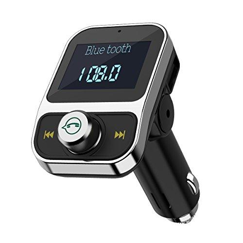 Criacr Bluetooth FM Transmitter, KFZ FM Transmitter, Auto Wireless Radio Adapter, Freisprecheinrichtung Car Kit mit 2 USB Ladegerät, Mikrofon, 1,44 Zoll Digital Display für iPhone, Samsung, iPad usw (Kit Fm Bluetooth-freisprecheinrichtung Car)