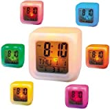 #3: BJE Magic Led Color-Change Alarm Clock, Digital Clock, Led Clock, Table Clock, Magic Clock, Kids Clock, Timer, Timers, Alarmclock, Clocks, Clock, uhr, Time now, Time And Date Clock, Digit Watch , Glowing Cube LED 7 Color Changing Digital Alarm Clock - With Temperature + Day + Month + Date + Time + Alarm - Voted Best Gift Item ( High Quality )