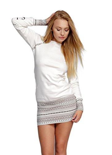 SENSIS edles und hochwertiges Baumwoll-Nachthemd Sleepshirt langarm im tollen Norwegermuster, ecru/braun, Gr. M (38)
