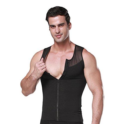 Flanell Kostüm Hemd - ZEROBODYS Männer Net Zipper Bauch-Körper-Former abnehmend Hemd Elastic Sculpting Weste-Träger Shaping Weste SS-M09 (XXL, Schwarz)