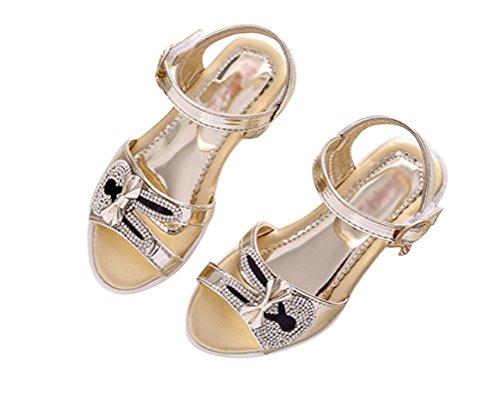 Brinny Mode Enfants Sandales d'été Mignon Strass Cartoon Lapin Décor Princesse Chaussures à petit talon de Party Mariage Soirée cérémonie Or